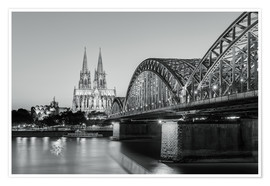 Poster  Cologne at night in black and white - Michael Valjak