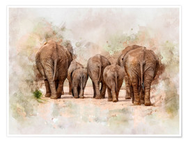 Poster Premium  Elephants in the savannah in Africa - Peter Roder