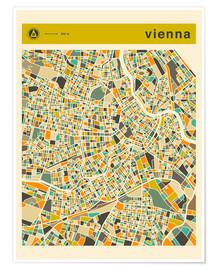 Poster Premium  VIENNA MAP - Jazzberry Blue