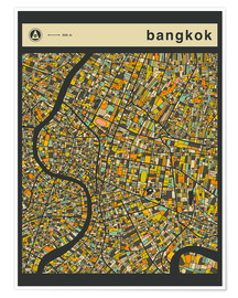 Poster Premium  BANGKOK MAP - Jazzberry Blue