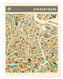 Poster Premium  AMSTERDAM MAP - Jazzberry Blue