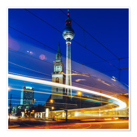 Poster Premium  Berlin - TV Tower / Light Trails - Alexander Voss