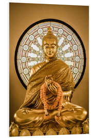 Forex  Buddha statue and Wheel of life background