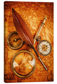 Stampa su tela  Compass and Clock