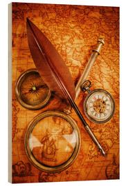 Stampa su legno  Compass and Clock