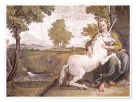 Poster Premium Young woman with a white unicorn in her arms