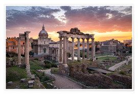 Poster Premium Dramatic sunrise at the Roman Forum in Rome, Italy