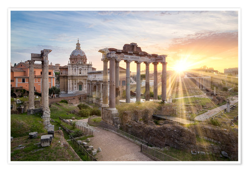 Poster Premium Sunset at the Roman Forum in Rome, Italy