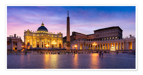 Poster Premium St. Peter's Square and St. Peter's Basilica at night, Rome, Italy