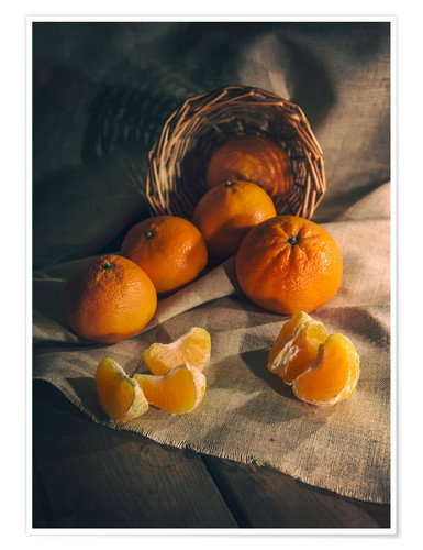 Poster Premium Still life with fresh tangerines