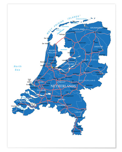 Poster Premium Map Netherlands