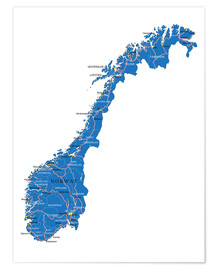 Poster  Map Norway