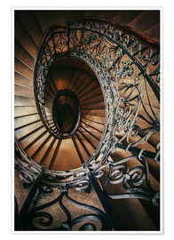 Poster Premium Spiral staircase with ornamented handrail