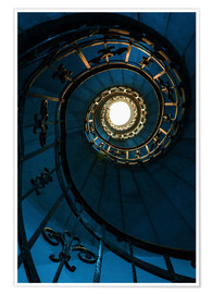 Poster Premium Spiral staircase in blue colors