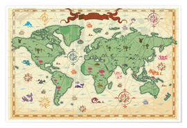 Poster Premium  treasure map - Kidz Collection