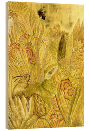 Stampa su legno  Rabbits and Flowers - Jean Dunand