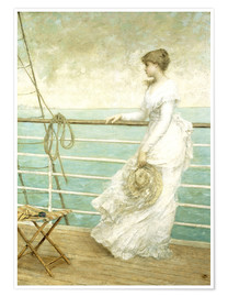 Poster Premium Lady on the Deck of a Ship