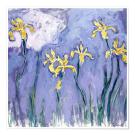 Poster Premium  Yellow Iris with Pink Cloud - Claude Monet