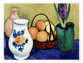 Poster Premium The White Jug with Flower and Fruit