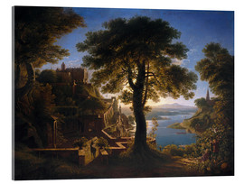 Stampa su vetro acrilico  Castle on the River - Karl Friedrich Schinkel