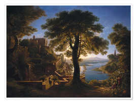 Poster Premium  Castle on the River - Karl Friedrich Schinkel