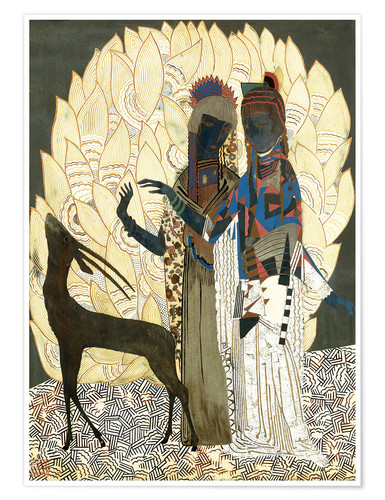 Poster Premium Two stylized women with an antelope and foliage