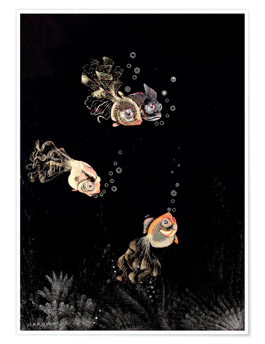 Poster Premium Underwater scene with red and golden fish
