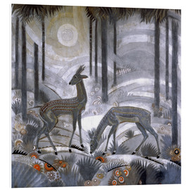 Stampa su schiuma dura  Two deer in the woods - Jean Dunand