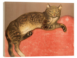Stampa su legno  The Summer, Cat on a Railing - Théophile-Alexandre Steinlen