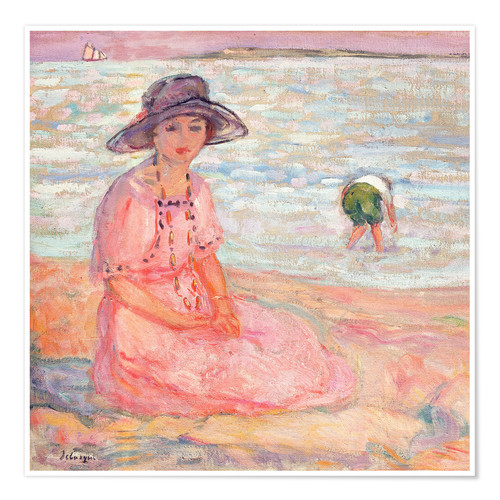 Poster Premium Woman in the Pink Dress by the Sea