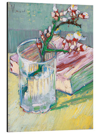 Stampa su alluminio  Flowering almond branch in a glass with a book - Vincent van Gogh