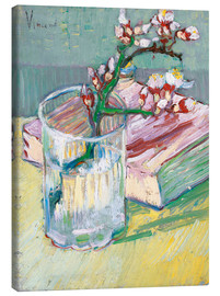 Tela  Flowering almond branch in a glass with a book - Vincent van Gogh