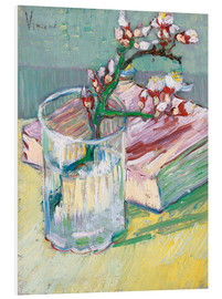 Stampa su schiuma dura  Flowering almond branch in a glass with a book - Vincent van Gogh