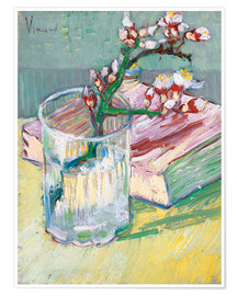 Poster  Flowering almond branch in a glass with a book - Vincent van Gogh