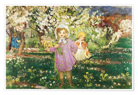 Poster Premium Children in an Orchard in Blossom