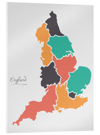 Stampa su vetro acrilico  England map modern abstract with round shapes - Ingo Menhard