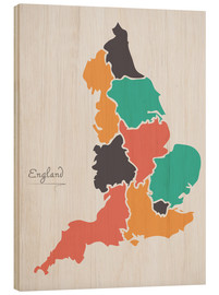 Stampa su legno  England map modern abstract with round shapes - Ingo Menhard