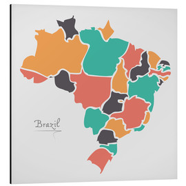 Stampa su alluminio  Brazil map modern abstract with round shapes - Ingo Menhard