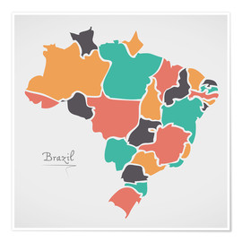 Poster Premium  Brazil map modern abstract with round shapes - Ingo Menhard