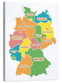 Stampa su tela  Germany map with labels for learning children - Ingo Menhard