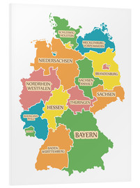 Stampa su schiuma dura  Germany map with labels for learning children - Ingo Menhard
