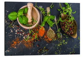 Stampa su alluminio  Mortar with herbs and spice