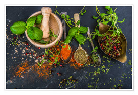 Poster  Mortar with herbs and spice