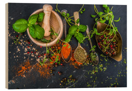 Legno  Mortar with herbs and spice