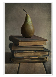 Poster Premium Still life with books and pear