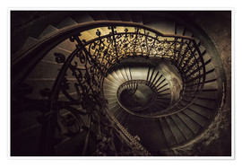 Poster Premium Spiral staircase in brown
