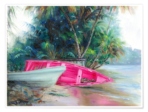 Poster Premium pink boat on side