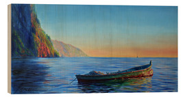 Stampa su legno  base of petit piton with gommier boat - Jonathan Guy-Gladding