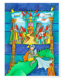 Poster  Knights Dragon and the Knight's Castle - Atelier BuntePunkt
