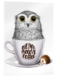 Stampa su vetro acrilico  Owl you need is coffee - Nikita Korenkov